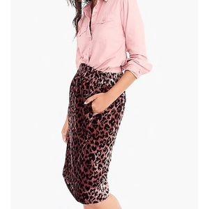 J. Crew Rose Leopard Velvet Skirt
